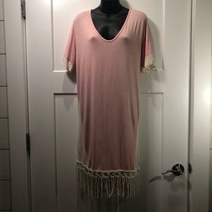 Luxe Boutique Pink & Cream Dress With Fringe